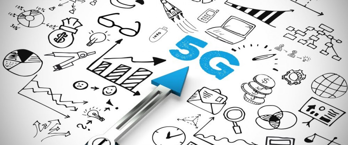 5G Internet Zugang Infrastruktur network or mobile speed as broadband concept with icons 3D Rendering Illustration